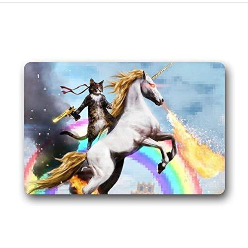 ghkfgkfgk Special Design Custom Cat Unicorn Rainbow Gun Deagle Rambo Doormat Rug Cover Pad Outdoor Indoor 15.7-Inch by 23.6-Inch