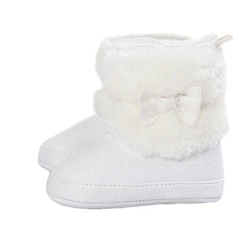 Matt Keely Baby Mädchen Bowknot Schneestiefel Weiche Sohle Winter warme Schuhe Booties Weiß 12-18 Monate