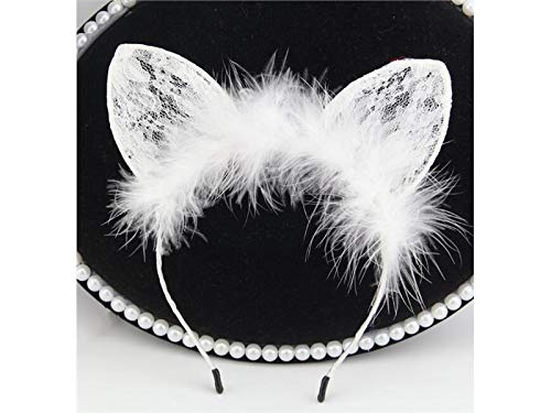 Yyanliii divertente bambini e adulti cat ears fascia per capelli in pizzo accessori per capelli in tinta unita per halloween