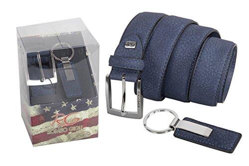Set regalo uomo ROMEO GIGLI blu parure portachiavi + cintura 120 cm R6422