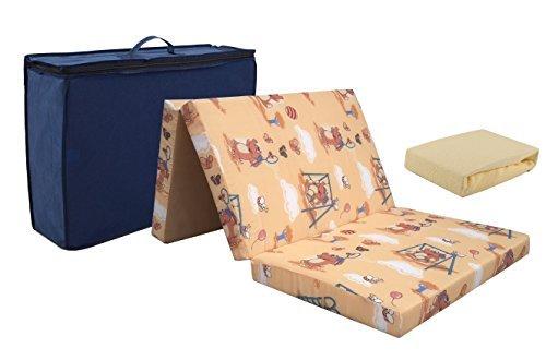 KiNDERWELT Reisebettmatratze aus hochwertigem Kaltschaum 60 x 120 cm faltbar, mit Tragetasche, 6 cm dick, klappbar + Frottee Bettlaken gelb Reisebett Matratze