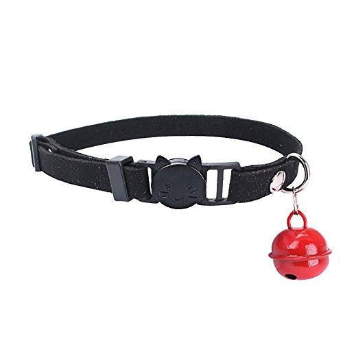 Shenye Katze Welpen Halskette Mikrofaser,Katze Kopf Haustier Hund, einstellbare,Kragen Katze Welpen Halskette,mit Glocke