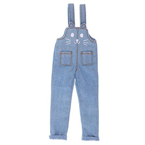 Unbekannt 1/6 Süße Katze Ohr Entworfen Hosenträgerhose Hose Für 12 '' Azone Dolls Kleidung Zubehör - Denim Blue