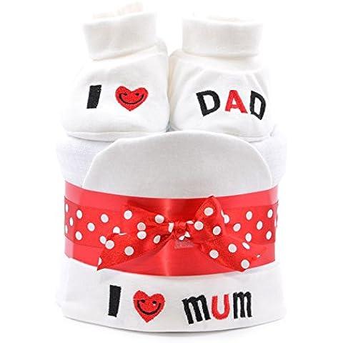 Unisex bebé Mini–tarta de pañales–I Love Mum/Dad rojo blanco Boy Girl Neutral de entrega