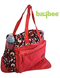 Baybee Premium Quality Multi-Compartment / Baby Nappie Travel Diaper Bag With Diaper Changing Mat ( Red )