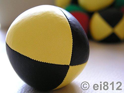 Jonglierball: HENRYS Beanbag Premium (Glattleder) 67 mm, schwarz-gelb (Stückpreis)