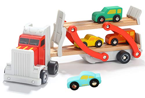 Preisvergleich Produktbild Toys of Wood Oxford Holz LKW - Autotransporter - holzauto mit anhänger mit 4 Autos -holzauto ab 3 Jahre
