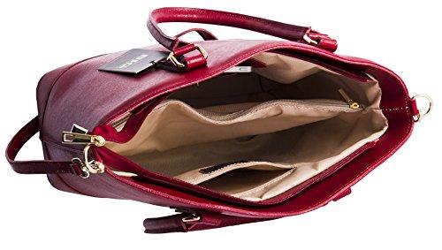 Borsa Grande Shop Bag In Pelle Italiana Testurizzata Grande Borsa Con Manico Superiore Floreale - Blu Royal (nl196)