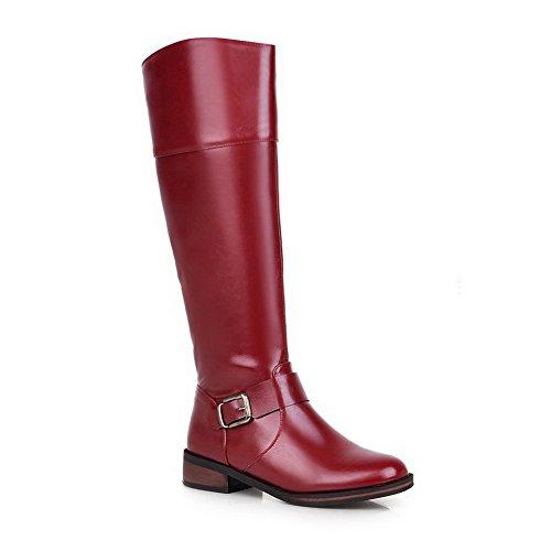 AalarDom Damen Reißverschluss Niedriger Absatz PU Leder Rein Hoch-Spitze Stiefel, Rot, 38
