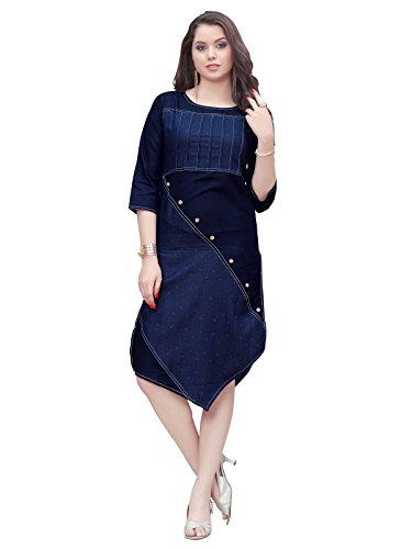 Varayu Women's Cotton Denim Printed Stitched Straight Kurti(170K1001-L,Navy Blue)