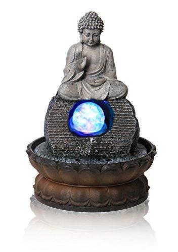 Buddha-Brunnen, drehende Kristallkugel und LED-Beleuchtung - L 20,5cm x H 30cm