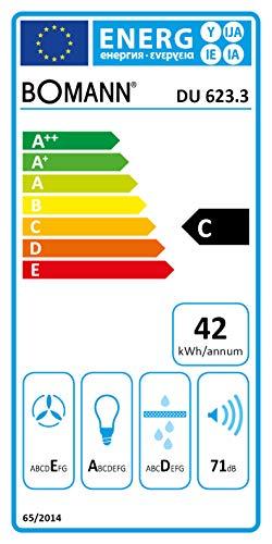 Bomann DU 623.3 Dunstabzugshaube Unterbau, Glas-Wrasenschirm, Umluft-oder Abluftbetrieb, 3 Leistungsstufen, LED Beleuchtung / 204,9 m³/h, Edelstahl-optik - 2