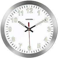 [Patrocinado]VORCOOL Relojes de Pared Luminoso Silencioso Cuarzo Redondo Hogar Cocina Decoraciones 12 pulgadas (Plata)