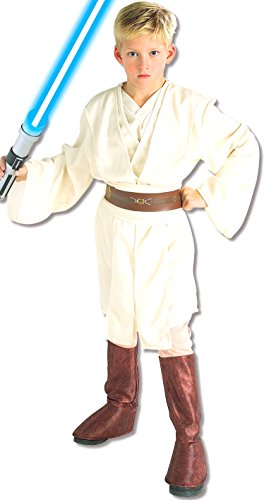 Wan Obi Kenobi Kinder Kostüme (Rubies Deutschland 3 882018 L - Deluxe Obi-Wan Kenobi Kind Größe)