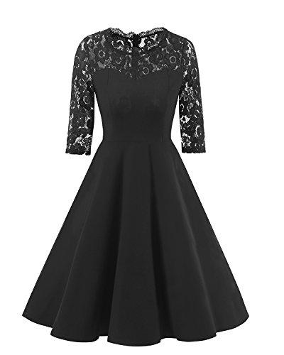 Seite Spitze Knie Stiefel (Sankill Damen Kleider Elegant 50s Lady Vintage Spitzenkleid Cocktailkleid Formale A Linie Kleid Abendkleid Schwarz)