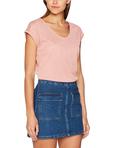 ONLY Damen T-Shirt 15136069, Rosa (Mahogany Rose), 40 (Herstellergröße: L) (Rose Metallic-t-shirt)
