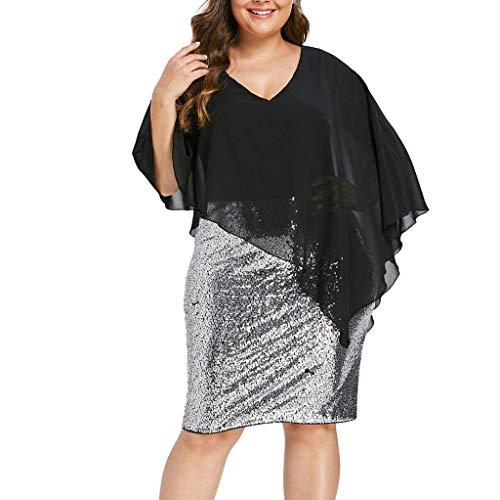 (Damen Doppelschicht-Design Minikleid Sommerkleid V-Ausschnitt Overlay Pailletten Bodycon Asymmetrisches Partykleid Cocktailkleid Abendkleid Strandkleid mit Spitze Schal)