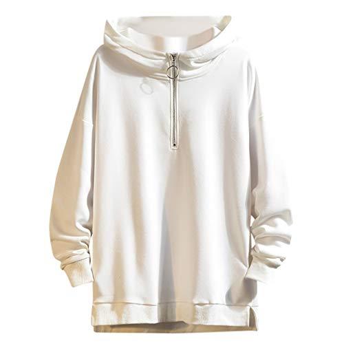 Xmiral Straßen Mode Einfarbig Herren Kapuzenpullover Reißverschluss Pullover mit Kappe Hoodie Kapuze Mit Tunnelzug Sweatshirt ohne Taschen(Weiß,3XL)
