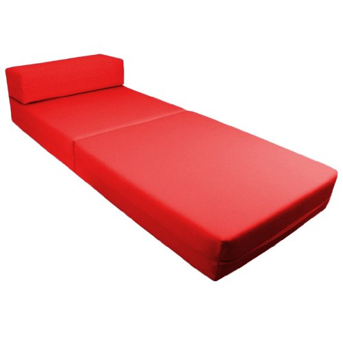 Comfortable Supreme Quality 100% Cotton Single Fold Out Z Bed Chair Futon in Red. Soft, Comfortable & Lightweight with a Removeable Cover. Available in 12 Colours.