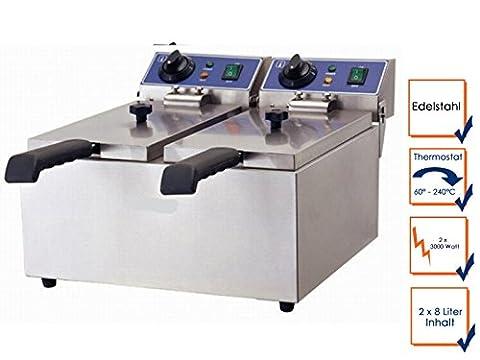 Profi Doppel-Fritteuse, Edelstahl, 6000 Watt, 16 Liter, Sicherheitsthermostat; WF-082L GGG