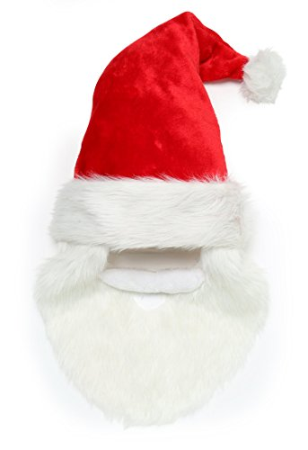 Santa Hat With Beard And Moustache - Red / White (Snowboarder Kostüm)