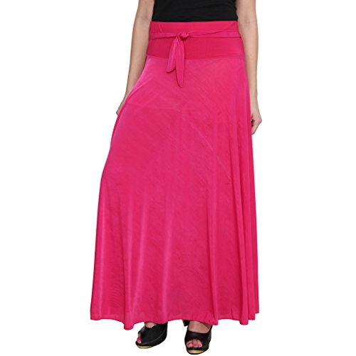 NumBrave Pink Flared Style Lycra Maxi Skirt