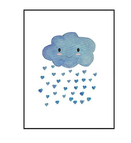 Hochwertiger Leinwanddruck mit süßer Wolke als Motiv A4 - Kunstdruck Fine Art Geschenk moderne Poster Kinder Kinderzimmer Cloud Print Leinwandbild Wandbild Leinwand Plakat Cartoon Deko Bild DINA4