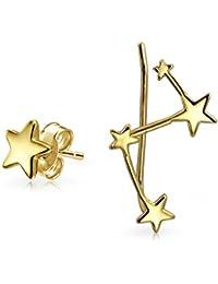 f7bfa5c31c54 Bling Jewelry chapado en oro y plata Sterling .925 Constelación Ear Pin y  Stud Earring