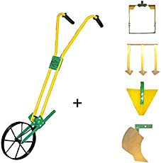 "Urvi Agrotech Wheel Hoe with Curvilinear Plough + 8"" weeder + 3 tooth tine + Triangular Furrow (HTCP101)"