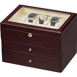 Auer Accessories Gaia 425DB Watch Box for 25 Watches Dark Burlwood