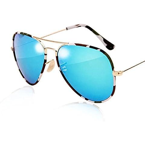 ZWX Occhiali da sole Camo/Specchio di mercurio riflettore rana/Occhiali da sole colorato film-C