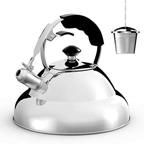 Willow & Everett Wasserkocher - chirurgische Pfeifen Herd Top Wasserkocher Teekanne mit geschichteten Kapsel unten, Silikon Griff, Hochglanz, 2,75 Quart - Teesieb Infuser enthalten (Elektrische Infuser Wasserkocher Tee)