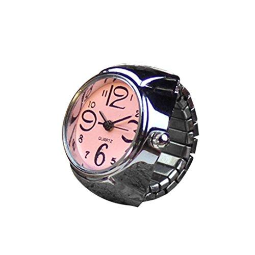 Coolster Damen Herren Unisex Paar Ring Uhr Kreative Elastische Edelstahl Fingeruhr (Rosa)