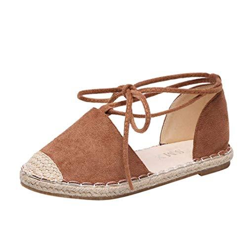 ZHRUI Mode Frauen Concise Flock Cross-Tied Rom Flachstroh Woven Fischer Schuhe (Farbe : Khaki, Größe : 4.5 UK)