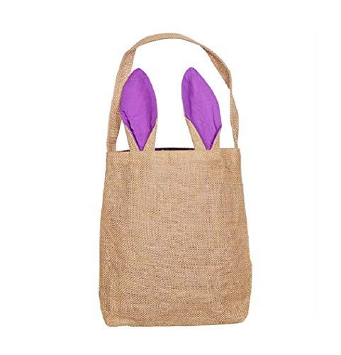 orb Taschen für Kinder Leinwand Baumwolle mit Geschenk und Eier Jagd Tasche , flauschige Schwänze gedruckt Kaninchen Leinwand Spielzeug Eimer Tote ()