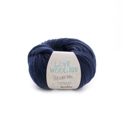 Katia love wool 100 - lana con alpaca per lavoro a maglia e uncinetto, per ferri da 7-9 mm, 100 g, colore: blu marino (213) 100 metri di lana alpaca