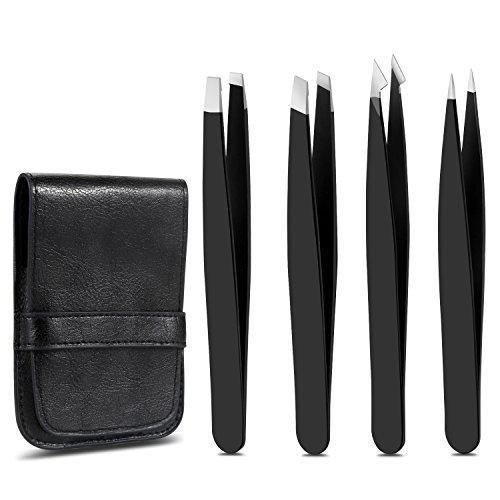 Stanbow Pinzette für Augenbrauen, Präzisionspinzette Set, schräg Spitz Pinzette für eingewachsenen Haarentferner, Hautpflege-Tools für Frauen und Männer