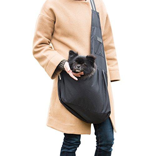 Fypo Umhängetasche für Hunde Katzen Haustiere, Einzelne Tragetasche Schultertasche Rucksack Transporttasche Welpen kleine Tiere unter 6KG schwarz
