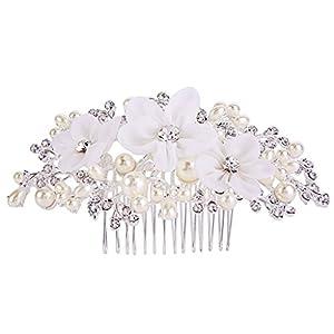Clearine Damen Böhmisch Boho Künstliche Perlen Hochzeit Braut Handarbeit Delicate Haarkamm Haarschmuck Klar Silber-Ton