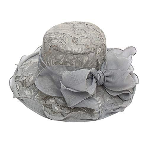 Fascinator Schwarz Hut Dasongff Damen Sommer Hut Elegante Blumen Organzahut Sonnenhüte mit Blumen Breite Krempe Strandhut Damenhut für Hochzeit Kirche Party -