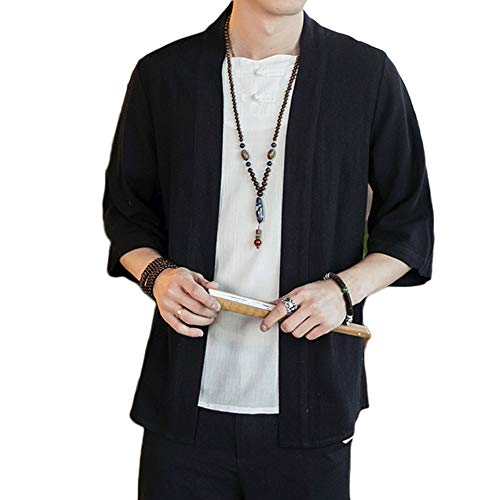 GladiolusA Herren Japan Happi Kimono Haori Jacke 3/4 Ärmel Übergangsjacke Mäntel Schwarz L