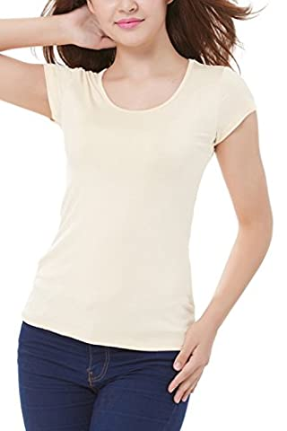 Frauen Elegant Kurze Ärmel Scoop Hals Bodycon T - Shirt Tops, Blusen Pale-yellow L