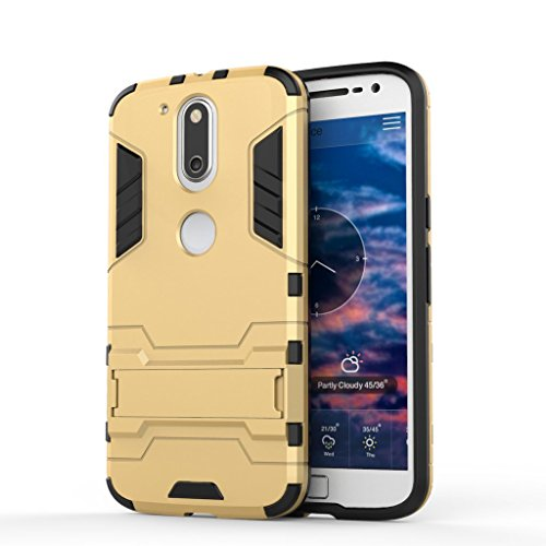 Chevron Moto G Plus 4th Gen Rugged Terrain Armor Protective Shockproof Kick Stand Back Cover Case for Moto G Plus 4th Gen (Gold)  available at amazon for Rs.149