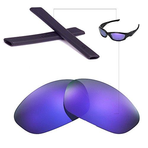 Walleva Wechselgläser Und Earsocks für Oakley Straight Jacket Sonnenbrille - Mehrfache Optionen (Lila Polarisierte Linsen + Schwarzer Gummi)