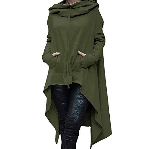 New Irregular Hoodies Solid Color Fashion Oversize Hoodies Sweatshirt Women Loose Hoody Mantle Hooded Pullover Outwear Coat Army Green 4XL