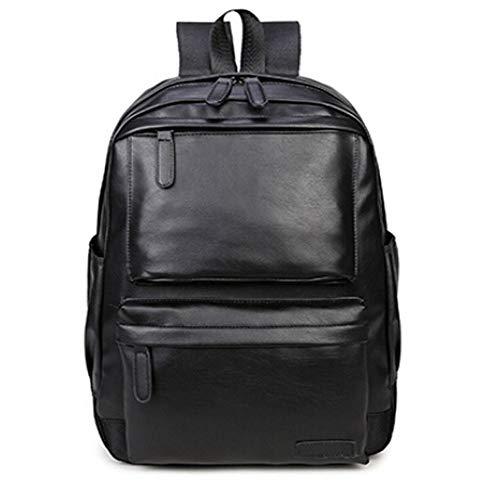 TnXan Unisex Business Casual Backpack travel Bag Black PU Leather Men's Fashion Shoulder Bag Men's Casual Backpack