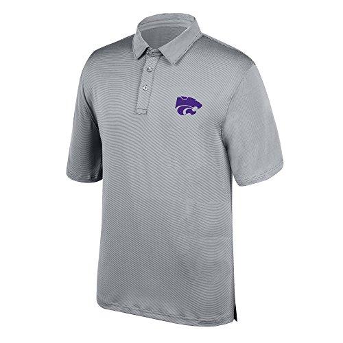 J America NCAA Men's Kansas State Wildcats Yarn Dye Striped Team Polo Shirt, Small, Cement Fall Kansas State Wildcats