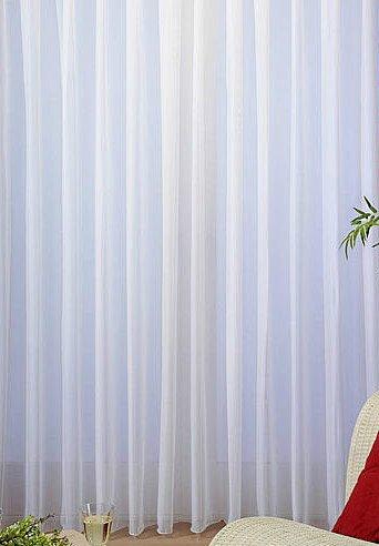 Moderner Uni Voile Store Fertiggardine weiß Kräuselband Breite 450cm x Höhe bis 200cm (450cm x 130cm)