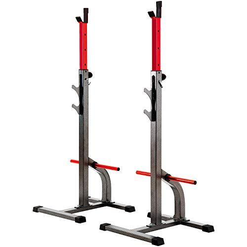 Merax Hantelablage Power Squat Rack Semi Pro Kniebeugen-Ständer mit Scheibenständer Hantelständer 2/6 Positionen Langhantelständer Kniebeugenständer belastbar bis 250 kg (2 Positionen)