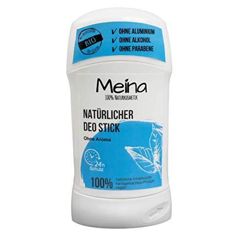 Meina Naturkosmetik - Deo Stick ohne Aluminium mit neutralem Duft (1 x 75 g) Bio Deodorant für Damen und Herren - vegan, alkoholfrei, handgemacht - 24 Std. Schutz -